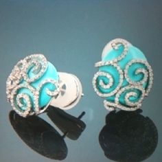 Pretty Earrings | Turquoise diamond earrings. so pretty! | Jewelry is a MUST