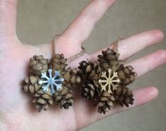 Mini Snowflake Pine Cone Ornament, Gold or Silver Snowflake Charm, Pinecone Gift Topper, Rustic Holiday Ornament - This adorable mini pinecone ornament is made from real, natural Hemlock pine cones while featuring - Pinecone Ornaments, Diy Christmas Ornaments, Rustic Christmas, Christmas Projects, Handmade Christmas, Christmas Fun, Holiday Crafts, Pinecone Christmas Crafts, Snowflake Ornaments