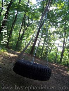 How to make a tire swing!  Simple really!  I would add holes in the bottom for rain water to drain out!
