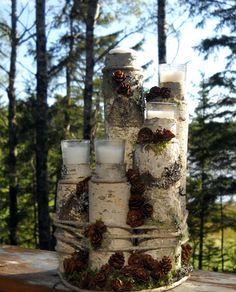 unity candle holder Blended family birch wood Log by UnityShoppe, $85.00