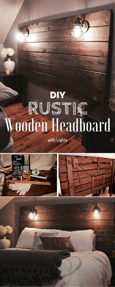 Easy to build DIY Rustic Wooden Headboard with Lights DIY Home Decor Ideas @ ISD #ad #easyhomedecorations