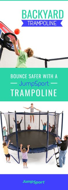 Bounce Safer with the Elite Power Bounce trampoline by JumpSport. This trampoline comes with safety enclosure. Visit http://www.jumpsport.com/JumpSport-Elite-PowerBounce-Trampoline to see how your family can enjoy this all summer! This outdoor activity is for the whole family that's fun, safe, and will keep the family fit for years to come!