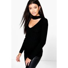 Boohoo Lily Rib Knit Choker Detail Jumper ($30) ❤ liked on Polyvore featuring tops, sweaters, black, animal print sweater, chunky sweater, turtle neck sweater, going out tops and party jumpers