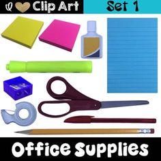 realistic png photo clip art - office supplies set 1