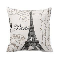 Paris Eiffel Tower Stamp Square Custom Throw Pillow Case, 18 X 18-Inch