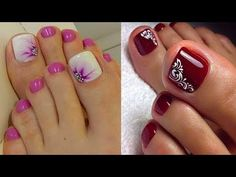 Nail Designs Toes French - Top 48 Toe Nail Art Designs Compilation You Need To Try Pedicure Nail Art, Toe Nail Art, Nail Art Diy, Diy Nails, Gel Nail, Diy Art, Nail Polish, New Nail Art Design, Simple Nail Art Designs