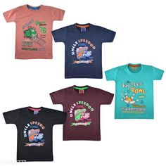 Tshirts & Polos  Elegant Kid's T-Shirts (Pack Of 5)  Fabric: Cotton Sleeves: Sleeves Are Included Age Group (1 - 2 Years) - 18 in Age Group (2 - 3 Years) - 20 in Age Group (3 - 4 Years) - 22 in Age Group (4 - 5 Years) - 24 in Age Group (5 - 6 Years) - 26 in Type: Stitched Description: It Has Pack Of 5 Of Kid's T-Shirts Work: Printed Country of Origin: India Sizes Available: 2-3 Years, 3-4 Years, 4-5 Years, 5-6 Years, 6-7 Years, 7-8 Years, 8-9 Years, 12-18 Months, 18-24 Months, 1-2 Years *Proof of Safe Delivery! Click to know on Safety Standards of Delivery Partners- https://ltl.sh/y_nZrAV3  Catalog Rating: ★4 (11486)  Catalog Name: Latest Elegant Kid's T-Shirts (Pack Of 5) Vol 1 CatalogID_420213 C59-SC1173 Code: 993-3069777-