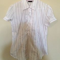 Blouse White with black and pink stripes. Top has top neck button and two buttons at the bottom of ruffles. Sleeves have two buttons on side as well New York & Company Tops Blouses