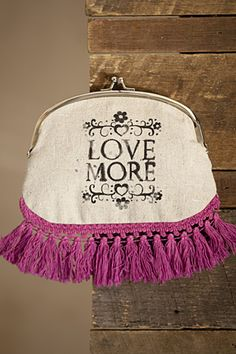 """love more"" cream linen double coin purse w/ satin lining & tassel fringe"