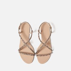 Image 4 of STRAPPY SANDALS WITH GEM DETAIL from Zara
