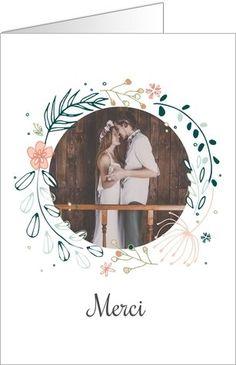 Carte de remerciement couronne de fleurs. Disponible en 4 formats et à personnaliser sur Popcarte.com