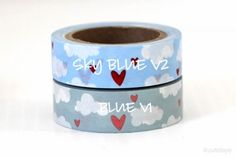 This website has lots of cute washi tape for sale. So far this is my absolute favorite washi tape! cloud and heart washi tape hearts Blue Clouds, White Clouds, Light Blue Background, Love Heart, Washi Tape, Dog Bowls, Eye Candy, Hearts, Paper Crafts