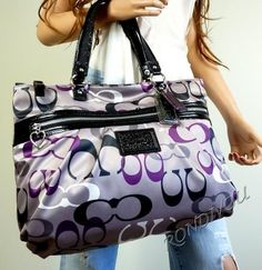 Purple Coach tote. I would LOVE this! <3