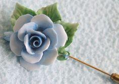 Vintage 1950s Pale Blue & Green Bone China Rose Flower Stick Pin BROOCH