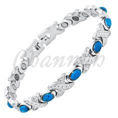 Channah 2017 Ladies Blue Semi-Precious Stones Magnetic Bracelet for Women Bio Health Wristband Charm Female Fashion jewelry Cheap Bracelets, Bangle Bracelets, Bangles, Link Bracelets, Fashion Bracelets, Fashion Jewelry, Women Jewelry, Stainless Steel Bracelet, Dame