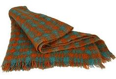 images of orange and aqua throw | Orange and Turquoise Wool Throw