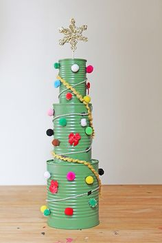 Recycled Cans Christmas Tree Craft For Kids