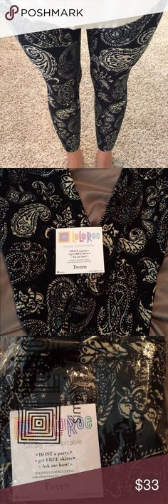 NWT Black and cream paisley LulaRoe leggings Brand new in bag, with tags LuLaRoe leggings. Black and cream paisley. Tween. LuLaRoe Pants Leggings