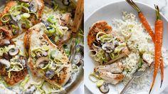 krémové kuře s pórkem a žampiony