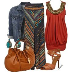 Bohemian Chic- love the denim w/earth tones combo... minus the jewelry n whatnot...