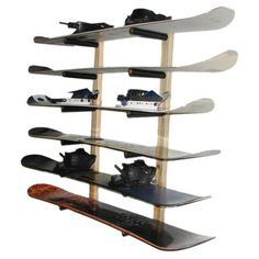 Pine wood snowboard rack with closed cell foam padding and wall mounting hardware. Holds up to six snowboards.  Product: 2-Piece...