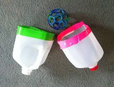 Jug Catchers- made from recycled bottles, they have handles & a nice big openings for catching a ball or sponge water bombs. Good for indoor, outdoor or water fun.