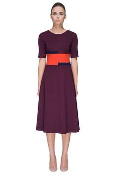 'Smart Touch' Glamorous Marsala Midi Dress - LATTORI дизайнерские платья