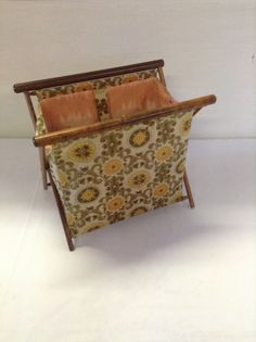 No. 2  Vintage Folding Sewing / Knitting Basket Tote with Wood Frame and bakelite closure