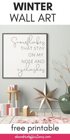 Do you love the song 'My Favorites Things'? AND, are you looking for some winter decor? You're in luck! Grab this free winter wall art printable with the line from 'My Favorite Things' and The Sound of Music Winter Home Decor, Winter House, Farmhouse Wall Art, Farmhouse Decor, Printable Christmas Cards, Woodland Nursery Decor, Animal Decor, Black Decor, Winter White