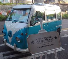Check out this cute camper van from Club Monaco's pop-up cinema at the beach!