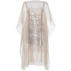 No. 21     Lamina Sequin Embellished Poncho (£1,160) ❤ liked on Polyvore featuring outerwear, white, chiffon poncho and white poncho