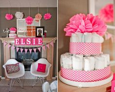 pink popcorn ready to pop baby shower pink decorations and pink polka dot diaper cake