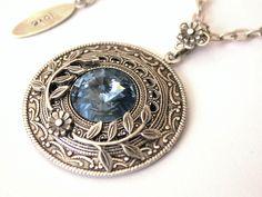 Round Swarovski Crystal Necklace Denim Blue by LeBoudoirNoir