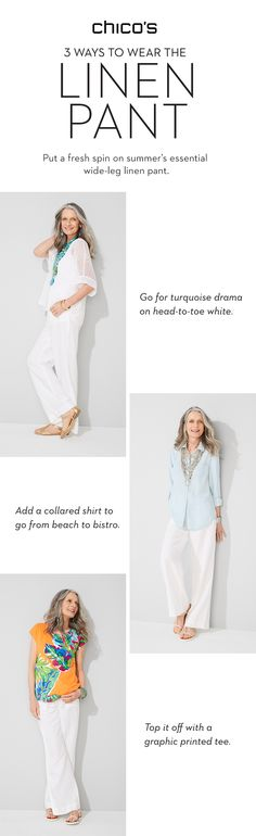 40017fe206c 3 ways to put a fresh spin on summer s essential white linen pant. Linen  Pants. Chico s