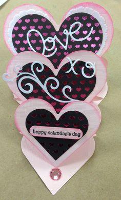 By April Bayne. Triple Heart Easel Card variation.