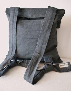 f9accca0cd408 One of a kind Rucksack Crossbody bag Blue gray bag Denim Minimal women bag  School bag Convertible casual bag Comfortable bag Gift for her