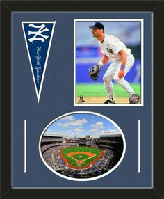 Two framed 8 x 10 inch New York Yankees photos of Yankee Stadium (including one HORIZONTAL photo framed in an oval) with a New York Yankees mini pennant, double matted in team colors to 16 x 20 inches.  The lines show the bottom mat color.  The oval photo will be cropped to fit.  (Pennant design subject to change)  $79.99 @ ArtandMore.com