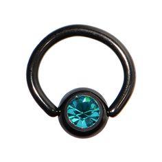 18 Gauge 1/4 blue zircon Austrian crystal black titanium BCR captive ring #BodyCandy #Piercing $6.99