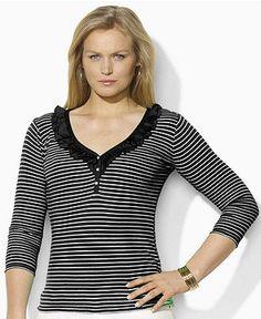 Lauren by Ralph Lauren Plus Size Top, Lacie Three Quarter Sleeve Striped V- Neck - Tops - Plus Sizes - Macy's