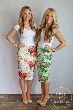 Floral Pencil Skirts~Visit www.lanyardelegance.com for beautiful Fancy Lanyards and elegant Crystal Eyeglass Holders for women.