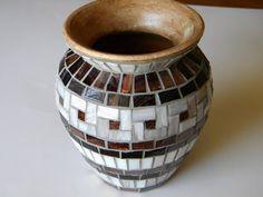 Florero mosaico blanco y cobre clásico florero decoración