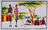 Watercolor African art paintings by Albert Lizah.