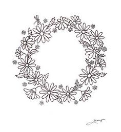 Daisy wreath pattern... post shows some amazing embroidery skills