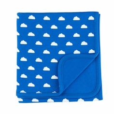 Ink Blue and White Cloud Blanket: Ink blue and white cloud print cotton baby blanket.