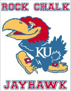 This is another one of my college patterns, good for students either going to or leaving college, or just someone who is a big sports fan! This one is the Kansas University mascot, and I am really proud of the way it turned out because it's such a detailed logo!