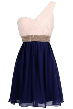 an adorable pink and navy blue dress with an attached sparkly belt. (one shoulder) #CUTEandADORABLE