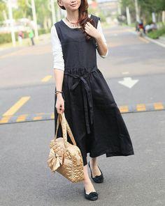 Black Linen Dress Gown/ Long Sundress  Custom Made by camelliatune, $65.00
