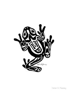 Buy 'Northwest Coast Frog' by Helen K. Native Art, Native American Art, Tree Frog Tattoos, Hunter Tattoo, Frog Art, Native Design, Wood Burning Art, Tattoos For Kids, Indigenous Art