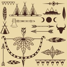 Set of american indians objects Free Vector Native American Tattoos, Native Tattoos, Native American Pictures, Native American Symbols, American Indians, Native American Design, Indian Symbols, Retro Background, Compass Tattoo