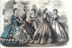 Godey's Fashion plate for September 1864. #Victorian #vintage #dresses #illustrations